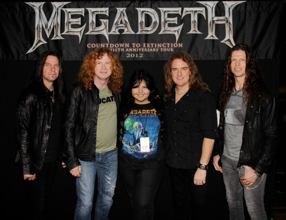 From left to right: Shawn Drover, Dave Mustaine, Me, David Ellefson, Chris Broderick.