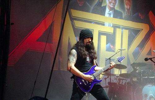 Caggiano onstage with Anthrax. Photo courtesy clintjcl on Flickr.